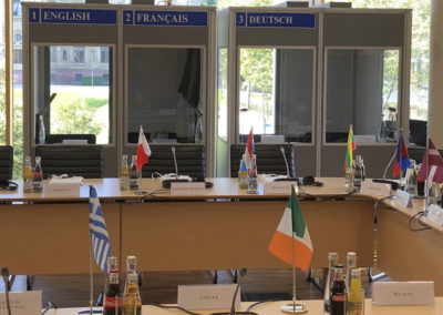 Booth table + flags
